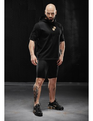 Olimp men's short-sleeved sweatshirt - MEN HOODIE T-SHIRT BLACK
