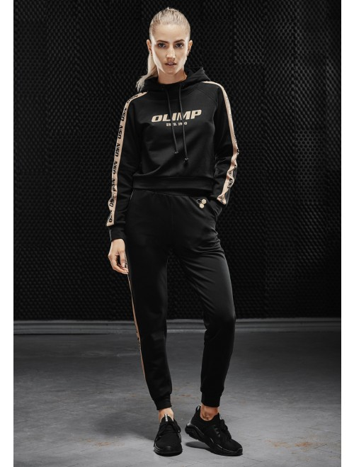 Women's sports hoodie Olimp - WMS TRACKSUIT TOP GOLD SERIES BLACK