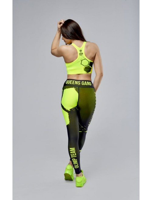 Women's leggings - OLIMP CREW black & neon