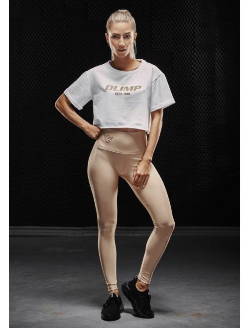 Olimp women's training top - WMS CROP TOP GOLD SERIES WHITE