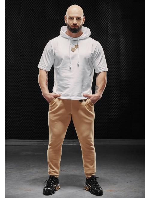 Olimp men's short-sleeved sweatshirt - MEN HOODIE T-SHIRT WHITE