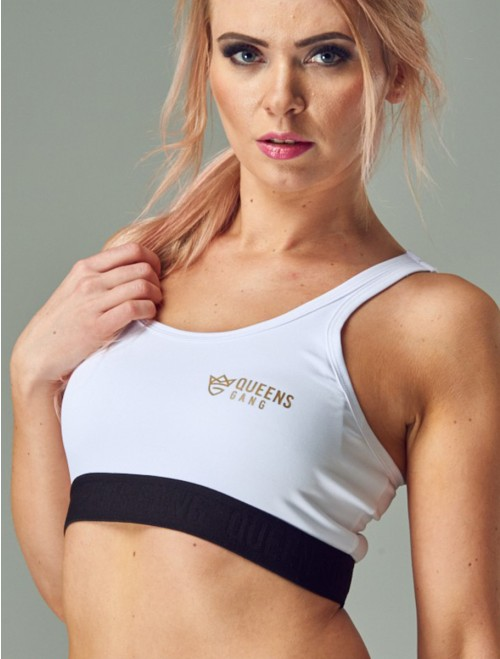 QUEENS GANG Women's Sports Bra - CLASSIC white