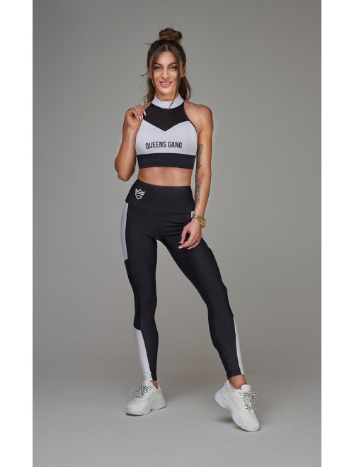 WOMEN'S SPORTS BRA MESH-STRIPES BLACK&WHITE